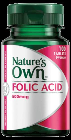 Folic Acid 500mg Vitamin Tablets