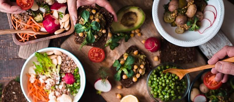 Vegetarian food on a serving platter board