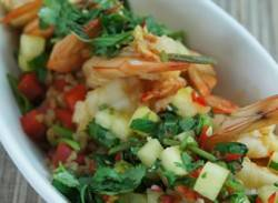 Chilli prawns with pineapple salsa