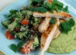 Citrus chicken with pea hummus & tomato salad